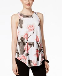 Alfani Floral Print Swing Top Only At Macy's Garden Allure Coral