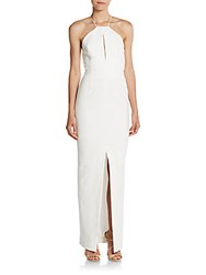 Nicholas N Ponte Open Back Rouleau Strap Gown White