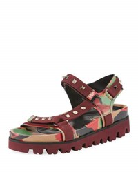 Valentino Men's Buckled Rockstud Printed Fabric Strap Sandal Multi