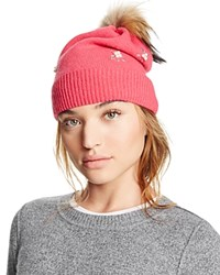 Aqua Knit Hat With Asiatic Raccoon Fur Pom Pom Pink