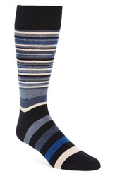 Cole Haan Men's Town Stripe Crew Socks Navy Astor Blue Stripe