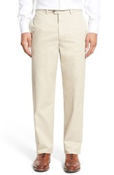 Nordstrom Men's Big And Tall Men's Shop 'Classic' Supima Cotton Flat Front Trousers Beige Light