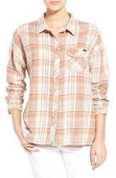 Women's Volcom 'Oldie And Goodie' Plaid Shirt Vintage Brown