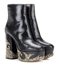 Marc Jacobs Embossed Leather Ankle Boots Black