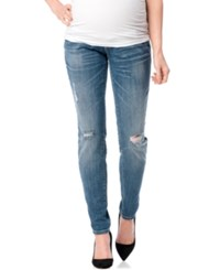 Motherhood Indigo Blue Maternity Distressed Skinny Jeans Bright Blue Wash