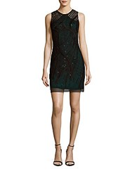 Aidan Mattox Beaded Illusion Sheath Dress Black Dark Teal