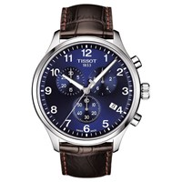 Tissot T1166171604700 'S Classic Chronograph Date Leather Strap Watch Brown Blue