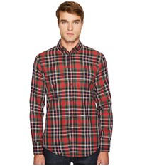 Dsquared Check Cotton Button Down Shirt Red Green White Blue Men's Clothing Multi