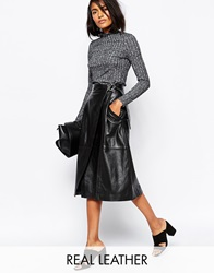 Whistles Wrap Faux Leather Midi Skirt Black