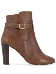 Tila March Side Buckle Ankle Boots Brown