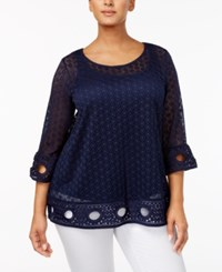 Alfani Plus Size Lace Top Only At Macy's Navy Nautical