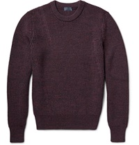 Lanvin Melange Chunky Knit Wool Sweater Burgundy