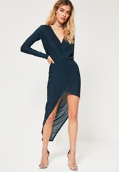 Missguided Navy Long Sleeve Wrap Dress Teal