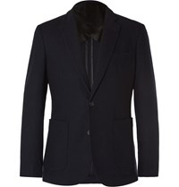 Hardy Amies Navy Slim Fit Brushed Cashmere Blazer Blue