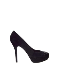 Mango Suede Studded Court Shoes Black