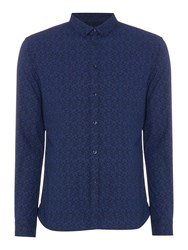 Linea Grayson All Over Floral Print Shirt Navy