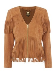 Biba Real Suede Limited Edition Tassel Jacket Tan