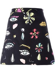 Boutique Moschino Multi Print Mini Skirt Black