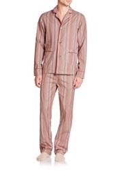 Paul Smith Striped Cotton Pajama Shirt Red Stripe
