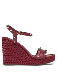 Valentino Torchon Rockstud Leather Wedge Sandals Burgundy
