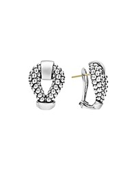 Lagos Sterling Silver Derby Caviar Omega Clip Earrings