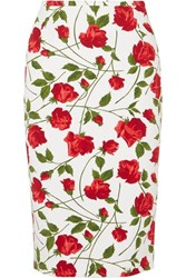 Michael Kors Collection Floral Print Cady Skirt Red