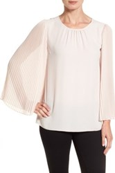 Vince Camuto Pleated Chiffon Sleeve Blouse Pink