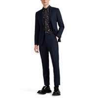 Paul Smith Kensington Checked Worsted Wool Two Button Suit Navy