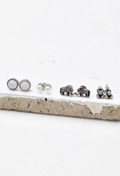 Forever 21 Elephant Stud Set Antic Silver
