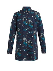 Thorsun Georgie Polynesian Print Cotton Shirt Navy Multi