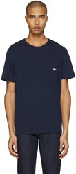 Maison Kitsune Navy Tricolor Fox T Shirt
