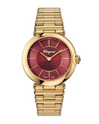Salvatore Ferragamo 36Mm Golden Bracelet Watch Red