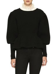 Burberry Wool And Cashmere Ribbed Sweater Black