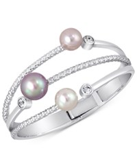 Majorica Silver Tone Colored Imitation Pearl Statement Ring Multi