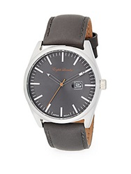 English Laundry Stainless Steel Grey Leather Strap Watch Grey Silver