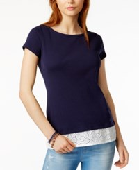 Tommy Hilfiger Cotton Layered Look T Shirt Only At Macy's Navy
