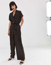 Selected Stripe Jumpsuit Black