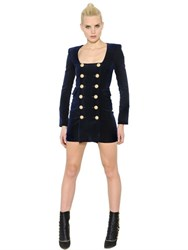 Balmain Double Breasted Cotton Velvet Dress