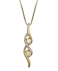 Sirena Diamond Two Stone Spiral Pendant Necklace In 14K Yellow Or White Gold 1 4 Ct. T.W. Yellow Gold