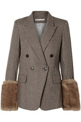 Veronica Beard Fahey Dickey Faux Fur Trimmed Houndstooth Alpaca Blend Blazer Brown