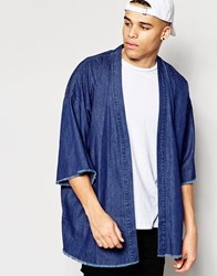 Asos Denim Kimono With Frayed Hem Blue