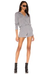 Monrow X Revolve Supersoft Zip Up Romper Gray