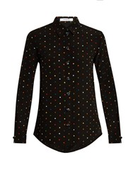 Givenchy Micro Cross Applique Silk Shirt Black Multi