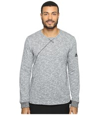 Adidas Cross Up Long Sleeve Tee Light Grey Heather Solid Grey Black Men's Long Sleeve Pullover Gray
