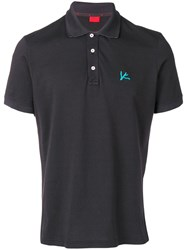 Isaia Chest Logo Polo Shirt Black