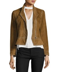 Derek Lam Cropped Studded Suede Jacket Military Brown