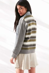 Ecote Denim Sweater Jacket Grey Multi