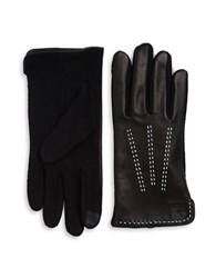 Lauren Ralph Lauren Wool Blend And Leather Touch Gloves Black