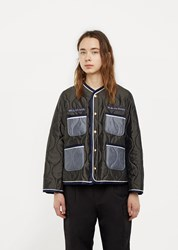 Undercover Quilted Jacket With Flower Patch Khaki