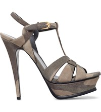Saint Laurent Tribute 105 Camouflage Print Leather Sandals Khaki